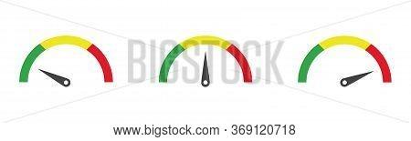 Colour Speedometer Icon Set, Vector Flat Car Dashboard.