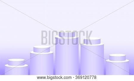 Pedestal Cylinder Circle Five Steps For Cosmetics Showcase, Podium Circle Purple Pastel Soft Color,