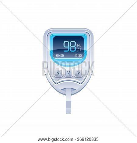 Glucometer Icon, Glucose Blood Meter Vector Illustration. 3d Sugar Test Medical Device For Diabetes