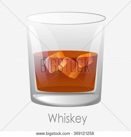 Whiskey Ice Glass. Scotch Dark Orange Colour