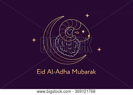 Muslim Holiday Eid Al Adha Mubarak. Feast Of The Sacrifice, Composition With Golden Sheep, Crescent