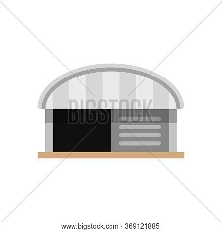 Warehouse Factory Front View Isolated On White, Icon Logistic Storehouse Of Factory, Symbol Warehous