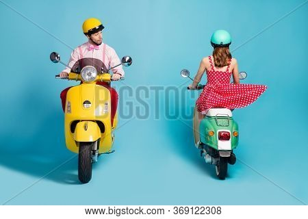 Full Body Photo Of Interested Guy Driving Vintage Moped Looking Under Short Skirt Opposite Riding La
