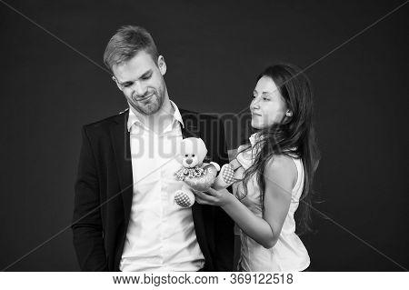 Couple In Love Celebrate Valentines Day. Surprise. Unacceptable Initiative. Love And Romance. Gift W