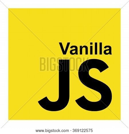 Vanilla Javascript Emblem Black Letters On The Yellow Background. Js Is The Most Popular Programming