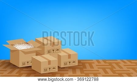 Pile Boxes Brown Placed On The Parquet Floor In The Blue Room Empty, Cardboard Carton Box And Copy S