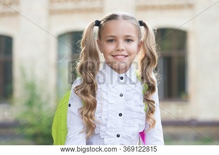 Always Look Forward. Smart Look Of Little Child. Happy Schoolgirl With Cute Look. Small Kid Back To