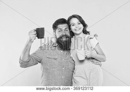 Drink Healthy Live Well. Happy Family Drink Milk Tea. Little Child And Father Hold Cups Of Hot Drink