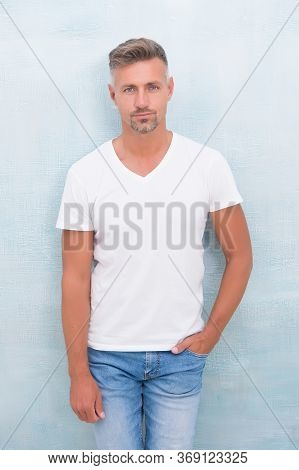 Handsome Man Wear Tshirt. Stylish Guy Has Sexy Bristle. Gray-haired Male With Trendy Look. Male Fash