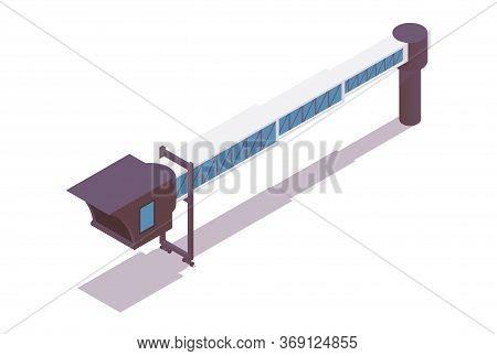 Jet Bridge Isometric. 3d Concept Illustration Good For Passengers Airplanes, Airport Ground Service