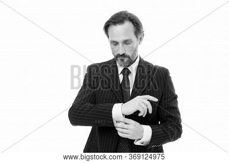 Perfectly Dressed. Stylish Businessman Button Shirt Cuff. Mature Man In Office Style. Professional F