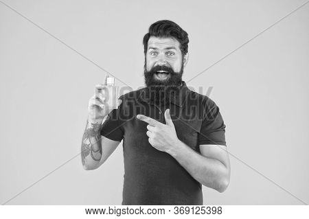 Choose Perfume According Occasion. Lotion Spray. Perfumery Products Concept. Man Well Groomed Bearde