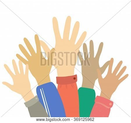 Hands Up Voting, Career Symbol Colorful Vector Illustration. Hands Silhouettes Cultural And Ethnic D