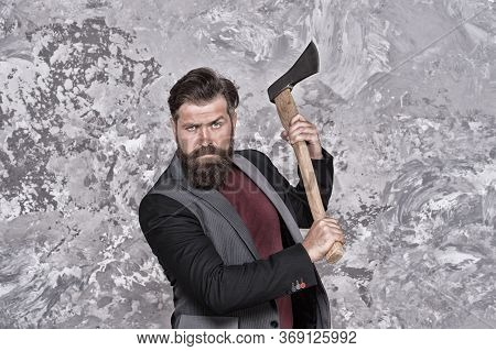 Stay Brutal. Brutal Hipster Hold Axe. Bearded Man With Brutal Look. Retro Barbershop. Shaving And Gr