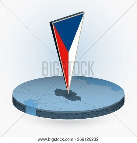 Czech Republic Map In Round Isometric Style With Triangular 3d Flag Of Czech Republic, Vector Map In