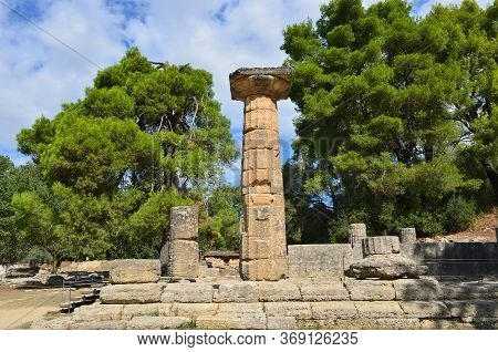 Olympia, Greece - 5 Oct, 2013: Ancient Ruins Shown  In Olympia. Birthplace Of The Olympic Games, Now
