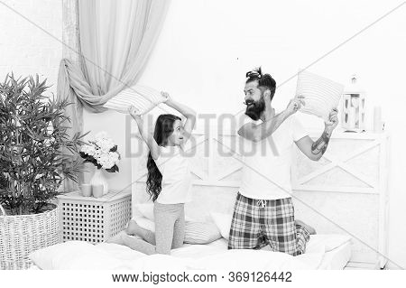 Active And Dynamic. Active Family Fight With Pillows. Little Child And Father Enjoy Playing Games. P