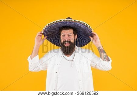 National Mexico Holiday. Mexican Hat Sombrero And Mustache. Man In Festive Mood At Party Celebrating