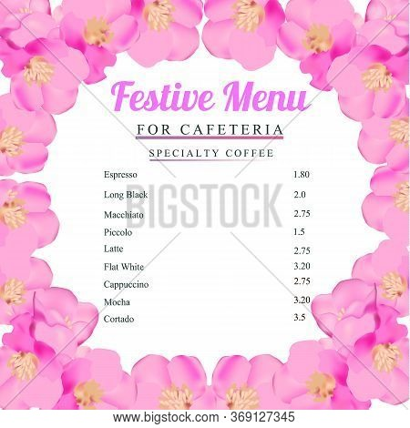 Spring Festive Menu. Happy Valentines Day Menu Background. Design Template For Holidays With Spring