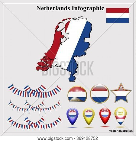 Infographic With Map Of Netherlands And Flag. Netherlands Infographic. Set Illustration With Map, Fl