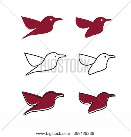 Line Art Humming Bird Creative Logo Template Vector