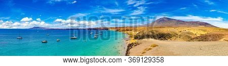 Spanish View Scenic Landscape In Papagayo, Playa Blanca Lanzarote ,tropical Volcanic Canary Islands