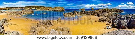 Scenic Coasts And Coastal Towns In Northern Spain.noja Beach In Cantabria,spain.