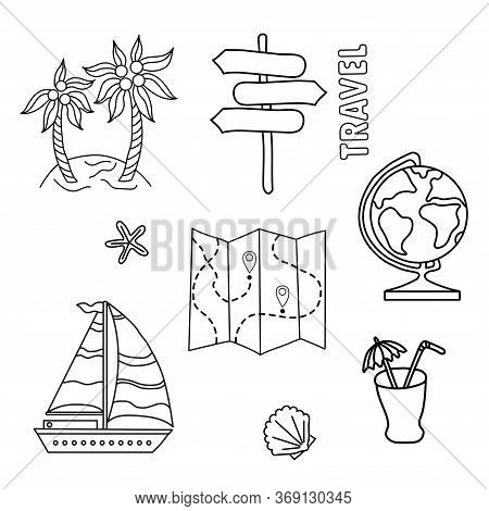 Illustration For Lifestyle Design. Travel Set Of Doodles. Outline Symbol Collection. Globe, Cocklesh