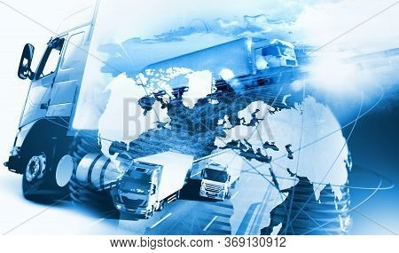 Abstract Design Background Trucks And Lorry Transport.highway And Delivering.world Map And Internati