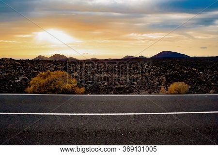 Road Through The Scenic Landscape To The Destination In Tenerife Natural Park.image Related To Unexp