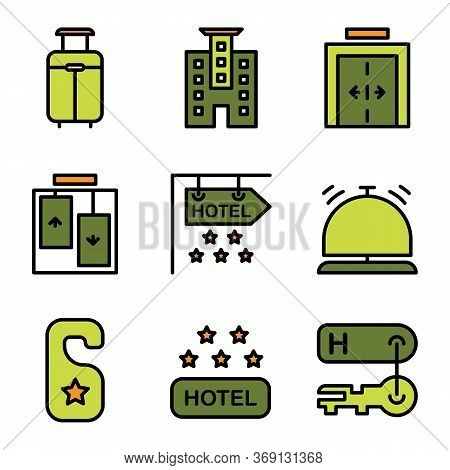 Hotel Icon Set Include Suitcase, Luggage, Bag, Travel, Hotel, Apartment, Room, Lodging, Elevator, Li