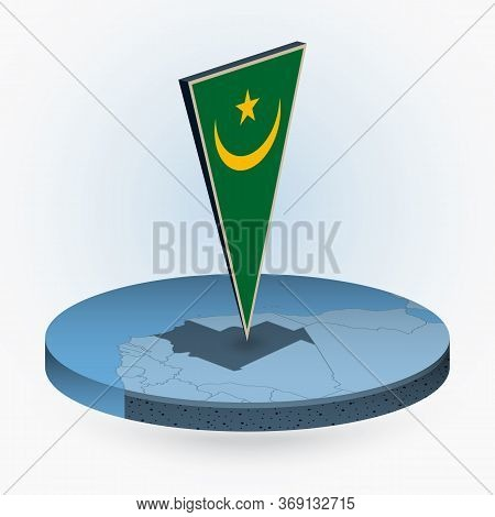 Mauritania Map In Round Isometric Style With Triangular 3d Flag Of Mauritania, Vector Map In Blue Co