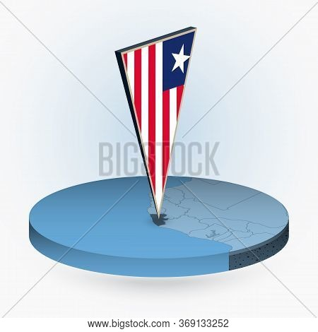 Liberia Map In Round Isometric Style With Triangular 3d Flag Of Liberia, Vector Map In Blue Color.