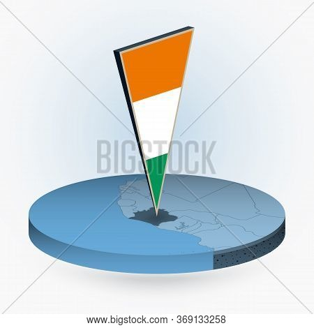 Ivory Coast Map In Round Isometric Style With Triangular 3d Flag Of Ivory Coast, Vector Map In Blue