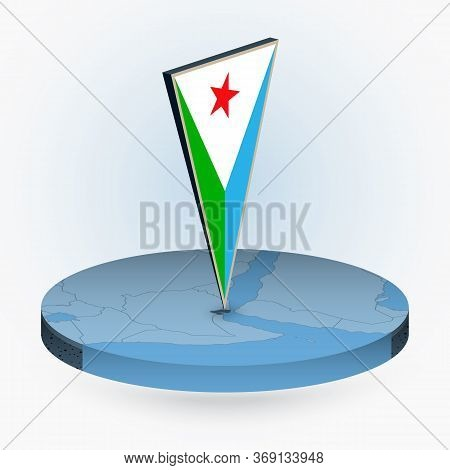 Djibouti Map In Round Isometric Style With Triangular 3d Flag Of Djibouti, Vector Map In Blue Color.