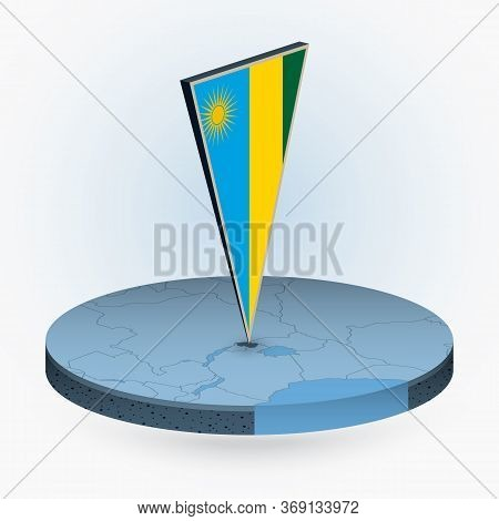 Rwanda Map In Round Isometric Style With Triangular 3d Flag Of Rwanda, Vector Map In Blue Color.