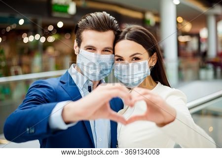 Close-up Portrait Of Lovely Her She Lovely Woman With His He Boyfriend In Suit Wearing Sterile Mask