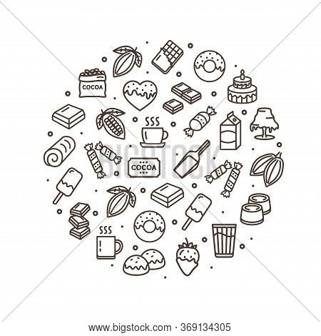 Chocolate Sweets Round Design Template Black Thin Line Icon Banner Include Of Cookie And Lollipop. V