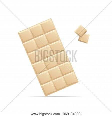Realistic Detailed 3d White Chocolate Bar And Pieces Unwrapped Sweet Dessert. Vector Illustration Of