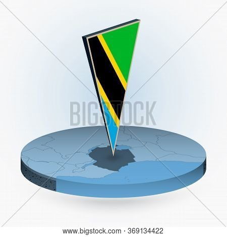 Tanzania Map In Round Isometric Style With Triangular 3d Flag Of Tanzania, Vector Map In Blue Color.