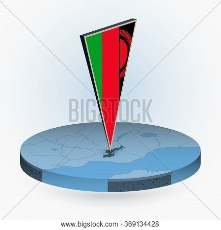 Malawi Map In Round Isometric Style With Triangular 3d Flag Of Malawi, Vector Map In Blue Color.
