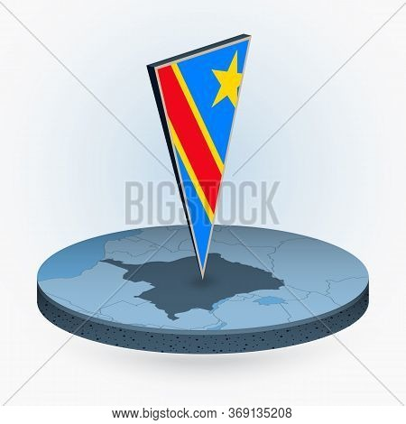 Dr Congo Map In Round Isometric Style With Triangular 3d Flag Of Dr Congo, Vector Map In Blue Color.