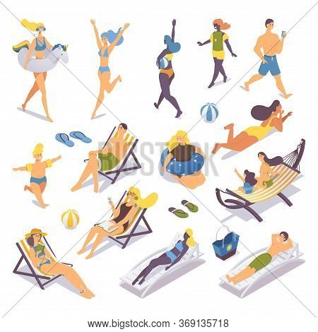 Various People Of Different Age And Ethnicity Relaxing At Beach Resort. Isometric Collection With Sm