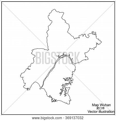 Map Region Of China Wuhan. Black And White Illustration Wuhan Region. Vector Illustration.