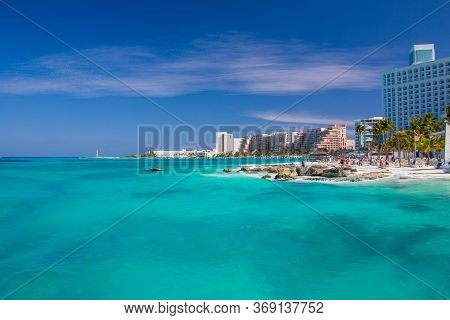 Playa Caracol Beach Panorama, In Cancun. Mexico. Perfect Beach With Beautiful Caribbean And White Sa