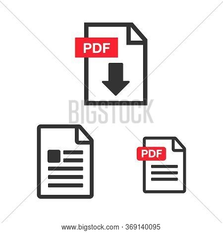Document Icon Flat Image. Document Vector Download Icon. Document Web Icon Set.