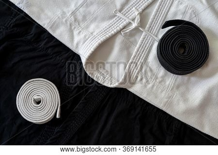 Tao Made With Black And White Martial Arts Uniform. Ying And Yang.