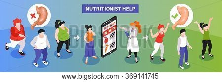 Isometric Dietician Nutritionist Sick Healthy Composition With Human Characters Arrows Images Of Sto