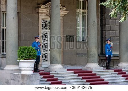 Guards Of Honor Of Serbian Guard At The Presidential Palace In Belgrade, Serbia