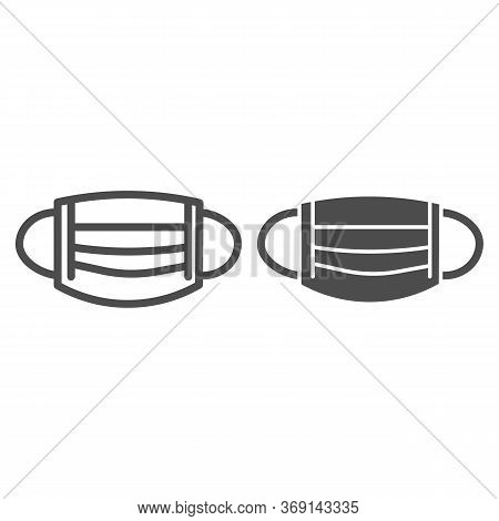 Medical Mask Line And Solid Icon, Healthcare Concept, Surgical Mask Sign On White Background, Breath